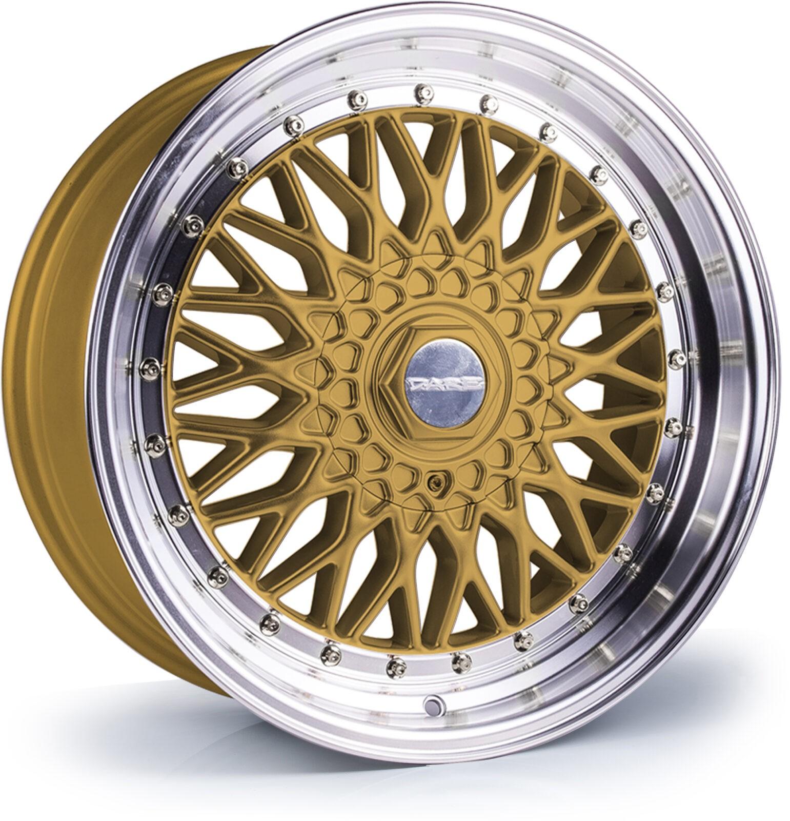 DARE MOTORSPORT RS hliníkové disky 8,5x17 5x112-5x120 ET20 Gold Polished / Chrome Rivets