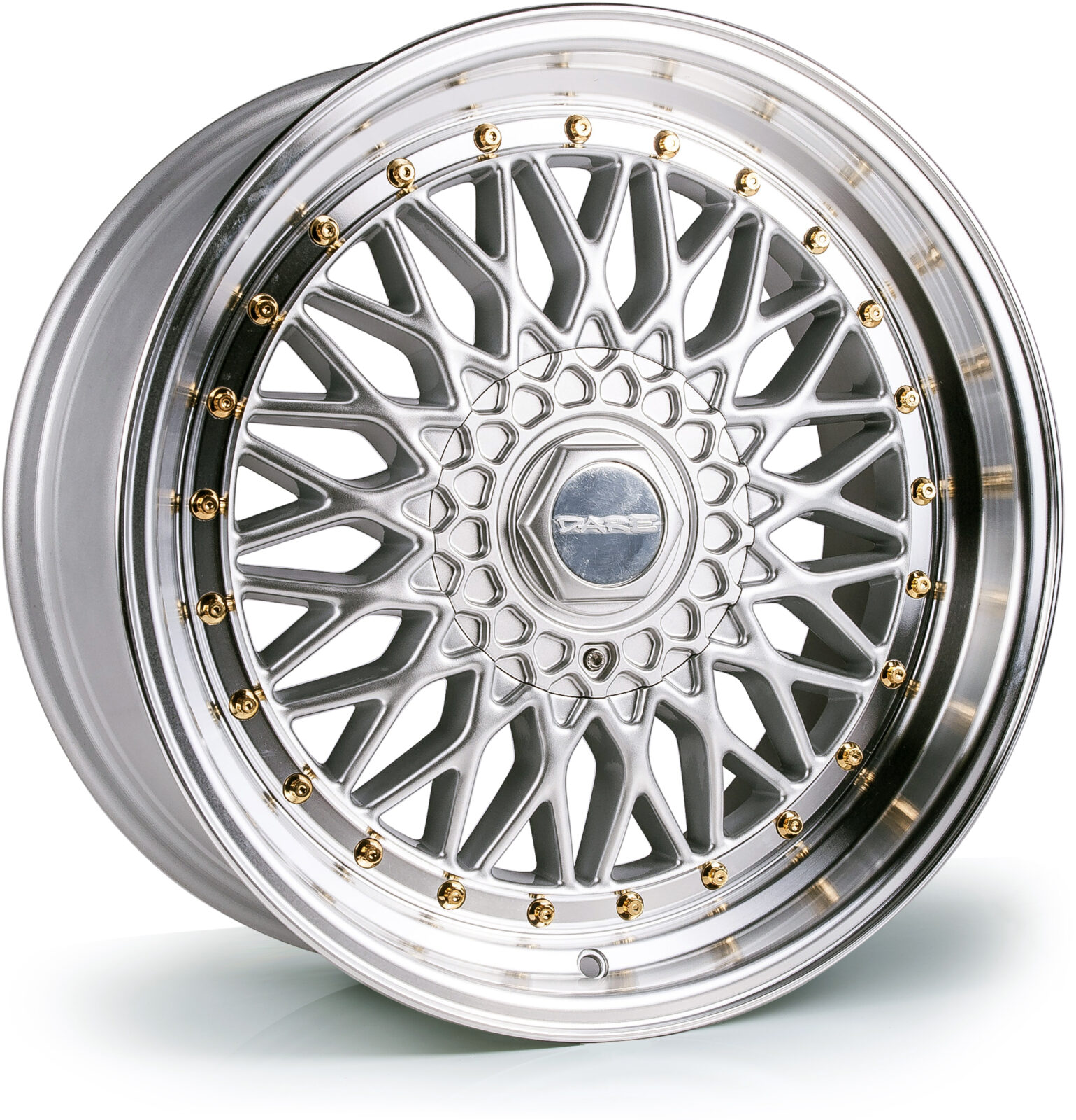 DARE MOTORSPORT RS hliníkové disky 8,5x17 5x112-5x120 ET20 Silver Polished / Gold Rivets