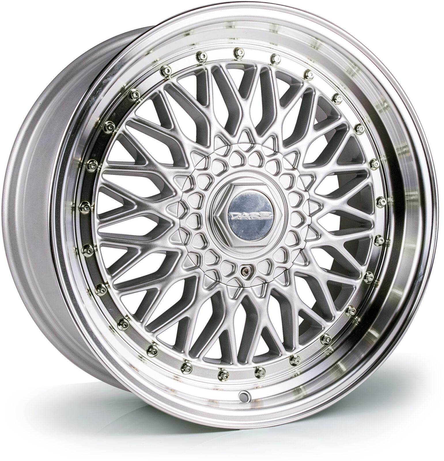 DARE MOTORSPORT RS hliníkové disky 10x17 5x112-5x120 ET15 Silver Polished / Chrome Rivets