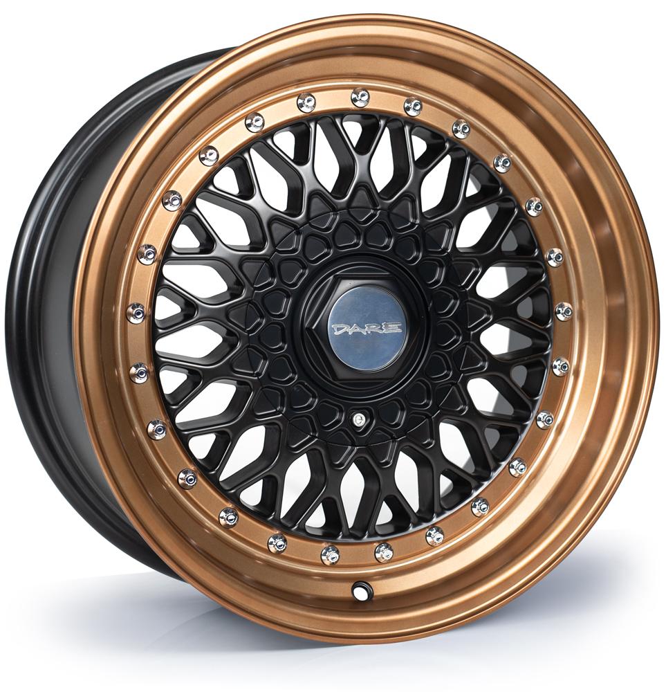 DARE MOTORSPORT RS hliníkové disky 8x16 4x100-4x108 ET25 Matt Black Bronze / Chrome Rivets